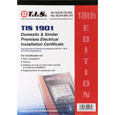 NEW TIS Test Certificate Book Domestic Electrical Installation UK Seller,,Each • 26.06£