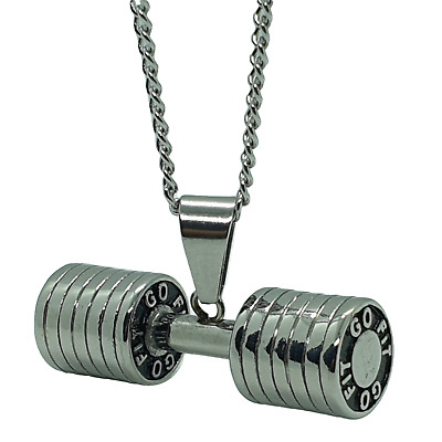$12.31 • Buy Stainless Steel Polished Big Dumbbell Barbell Necklace Mens Ladies Fitness Plate
