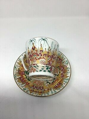 Russian China Coffee Cup And Saucer Hand Decorated • 45£