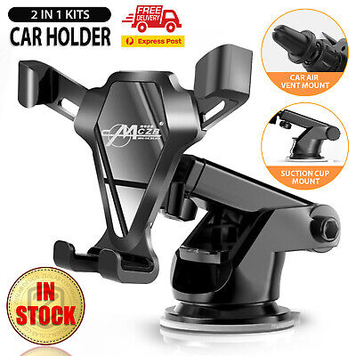AU15.15 • Buy Universal Car Phone Holder 2 IN 1 360° Windshield Rotating Air Vent Mount Stand