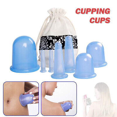 7Pcs Silicone Therapy Cupping Massage Vacuum Body Facial Anti Cellulite Cups • 10.29£