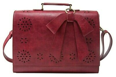 *NEW* Ecosusi Women's Red Faux Leather Shoulder Work/School Messenger Laptop Bag • 37.99£