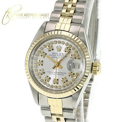 $ CDN4919 • Buy Rolex Watch Women's Datejust Gold And Steel Silver String  Diamond 26mm