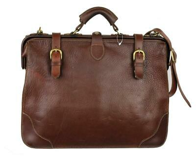 $450 • Buy PORCO ROSSO Briefcase Doctors Bag Handmade In Japan Brown Leather Crossbody
