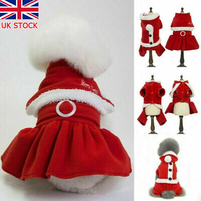 Pet Dog Puppy Cat Santa Claus Costume Warm Coats Outfits Fun Christmas Cosplay • 4.98£