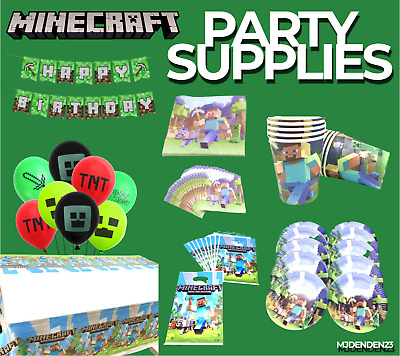 AU11.99 • Buy MINECRAFT Game Birthday Party Items Celebration Balloon Mat Bag Cups Banner