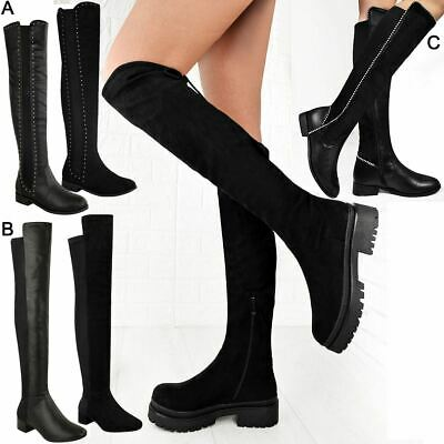 Womens Chunky Flat Low Heel Pull On High Over The Knee Stretch Winter Boots Size • 26.99£