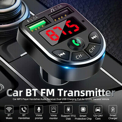 FM Transmitter Wireless Bluetooth 5.0 Car MP3 Player 2 USB Charger Handsfree Kit • 6.09£