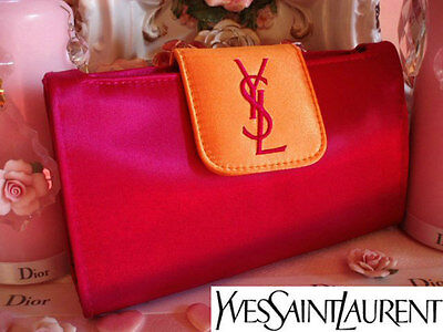 100% AUTHENTIC Ltd Edition YSL COUTURE SILK SATIN Clutch Evening BAG & MIRROR • 95£