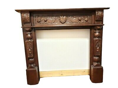 Antique Carved Mahogany Fire Surround,Adam Style Mantle, Good Condition • 114£