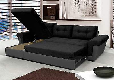 NEW Corner Sofa Bed With Storage, Black Fabric + Grey Leather. Very COMFORTABLE! • 519£