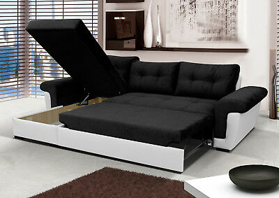 £599 • Buy NEW Corner Sofa Bed With Storage, Black Fabric + White Leather. Contemporary