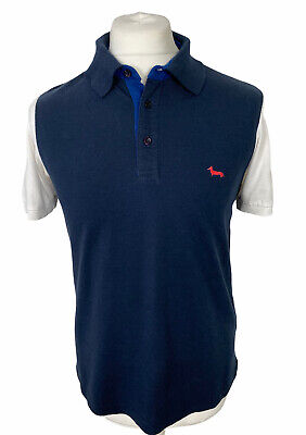 Harmont & Blaine Mens Polo Shirt Narrow Fit Navy Short Sleeve Collared Size M • 19.99£