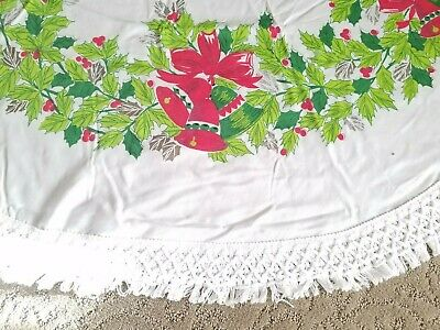 $ CDN23.05 • Buy Vintage Christmas Tablecloth Cotton 64  Round Fringe White Bells Greens Holly