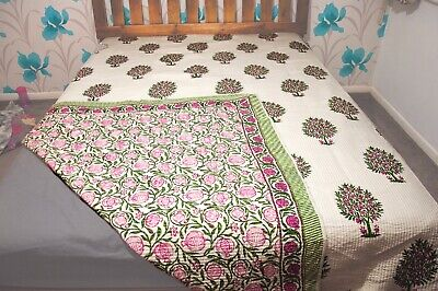 Hand Printed Indian King Size Quilt, Indian Throw, Indian Blanket, Block Printed • 59.99£
