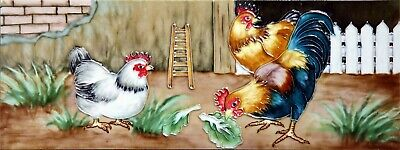 £22.99 • Buy 6x16 Inch ROOSTERS Ceramic Wall Art Plaque / Art Ceramic Tile Picture