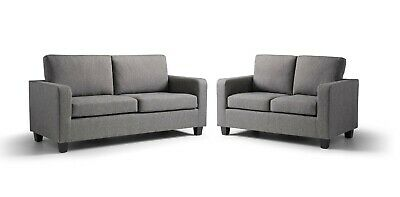 £239 • Buy Grey Fabric Sofa 3+2 Seater - Compact Small Free Next Day Delivery Easy Assemble