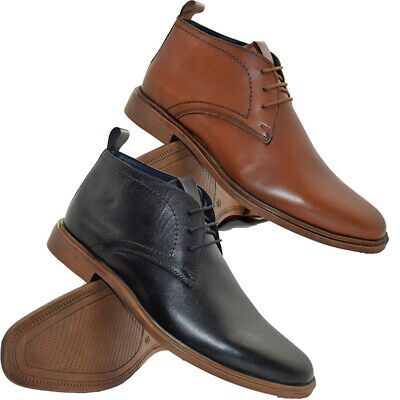 Mens Leather Chukka Boots Smart Casual Formal Lace Up Ankle Boots Shoes  • 24.95£
