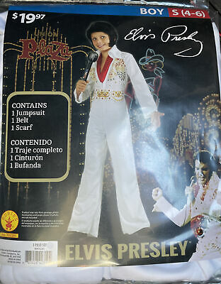 £12.87 • Buy Elvis Presley Child White Jumpsuit Halloween Costume Boys Youth Small 4-6 NEW