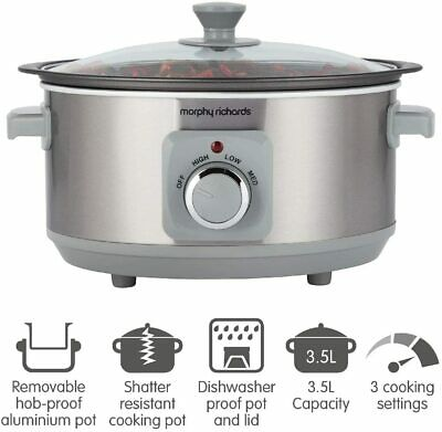Morphy Richards Sear & Stew 6.5 Litre Aluminium Slow Cooker 461014 [Refurb] • 34.99£