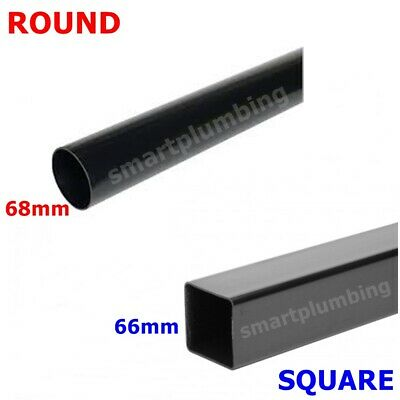 £7.56 • Buy Rainwater Downpipe 1 Metre Lengths Black Square Or Round 68mm Pipe *FAST DEL*