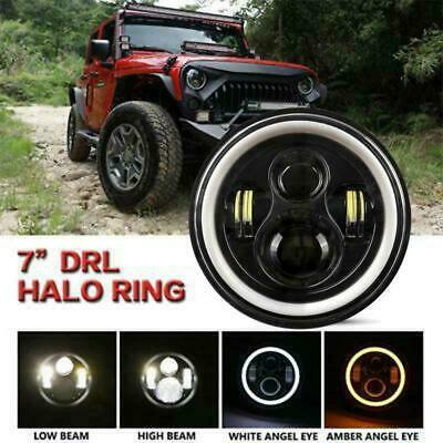 AU73.78 • Buy DOT 7inch Round LED Headlight /w  Angle Eyes Fit For Jeep Wrangler JK LJ TJ