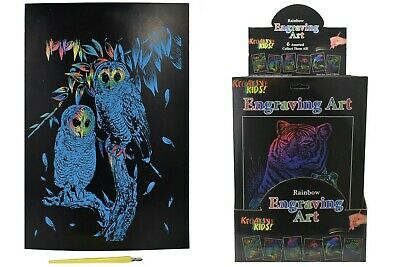 £2.99 • Buy 1x Kids A4 Rainbow Engraving Foil Art Board Guided Rainbow Scratch Craft Hobby