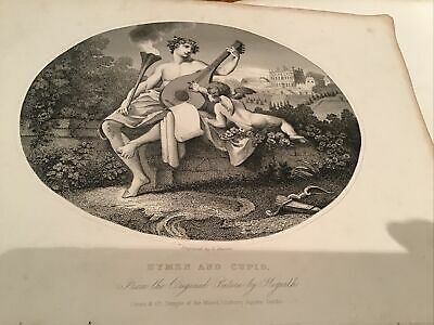 William Hogarth,  1833 Antique Engraving Print - Hymen And Cupid • 5£