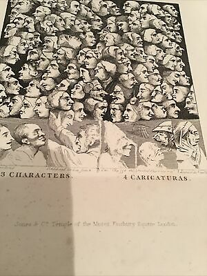 William Hogarth,  1833 Antique Print - Group Of Heads - Character & Caricature • 10£
