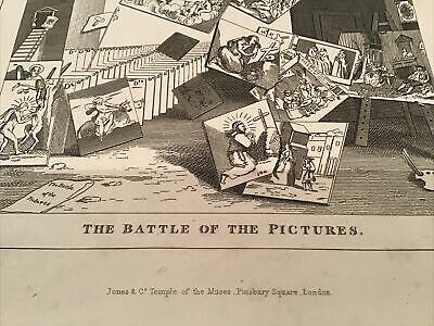 William Hogarth,  1833 Antique Engraving Print - The Battle Of The Pictures • 10£
