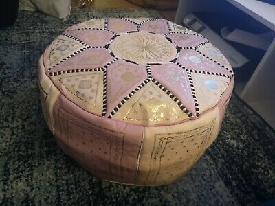 Moroccan Pouffe Leather Footstool Ottoman Poufe Pouf New Pink Cream • 29.99£