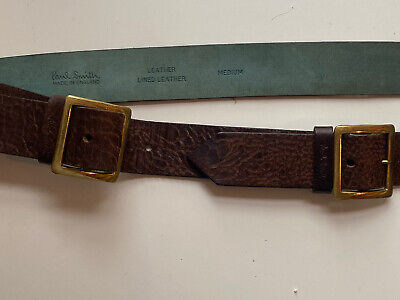 £20 • Buy Paul Smith Distressed Double Brass Buckle Brown Leather Belt Size Medium