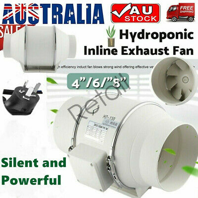 AU51.74 • Buy 4/6/8  Inch Silent Extractor Fan Duct Hydroponic Inline Exhaust Vent Industrial