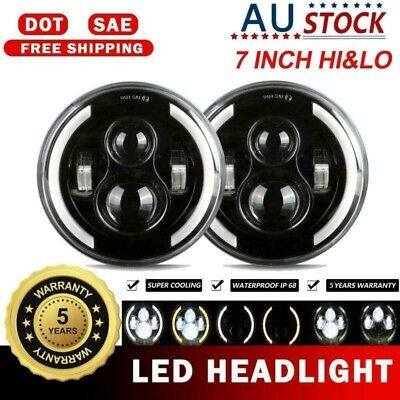 AU100.13 • Buy 2Pcs 7 Inch Round LED Headlight DRL Turn Light For Jeep Wrangler JK TJ Kenworth