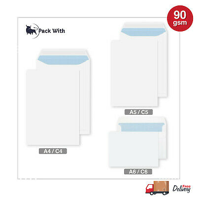 £15.35 • Buy Quality Plain 90gsm White Envelopes Self Seal Strong Paper C5/a5 C6/a6 C4/a4