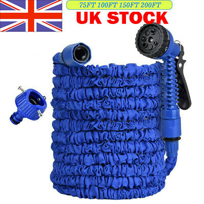 Expandable Magic Garden Hose Heavy Duty Water Pipe 75-200FT With Blue Spray Gun • 12.99£