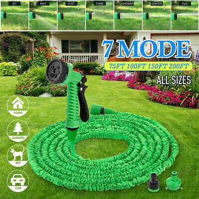 Heavy Duty Expandable Flexible Garden Magic Hose Water Pipe 75-200FT & Spray Gun • 12.50£