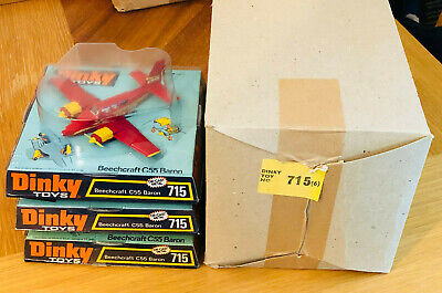 Vintage Dinky 715 Dinky Beechcraft C55 Baron Aircraft X 3 In Trade Box 1973 • 150£