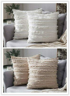 2X Tassel Cotton Linen Pillow Case Sofa Bed Cushion Pillowcase Throw Cover Home • 9.99£