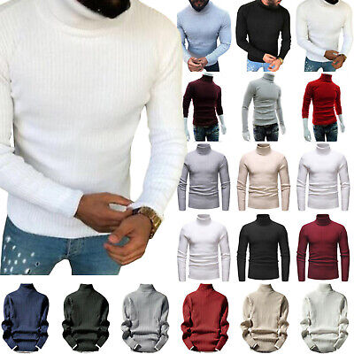 Mens Winter Knitted Polo Roll Turtle Neck Pullover Ribbed Jumper Casual Tops Hot • 15.67£