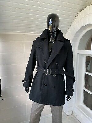 $449.99 • Buy Burberry Brit Men's Black Wool Belted Double Breasted Wool Coat Size Large
