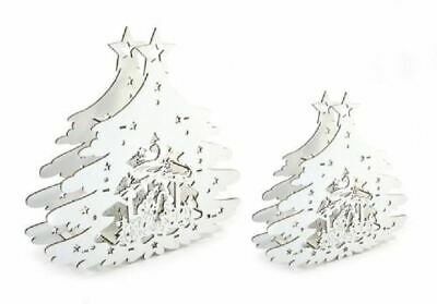 Wooden Filigree Nativity Scene With Snowy Tree & Led Light 20 Or 30cmcm Tall • 8.99£