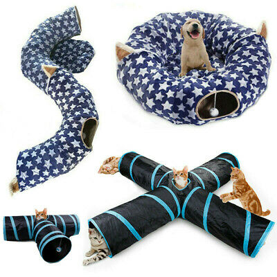Foldable Cats Kitten Large Tunnel Cave Sleeping Bed Training Kitty Toy Play Tube • 41.82£