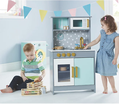 Deluxe Kids Toy Kitchen Large Children Wooden Cooker Girl Boys Play Set Blue  • 59.99£