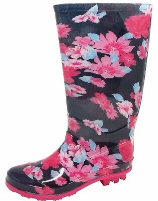Kids Pink Flower Girls Wellies Womens Print Wellington Adults Boots Size 13-6 Uk • 10.95£