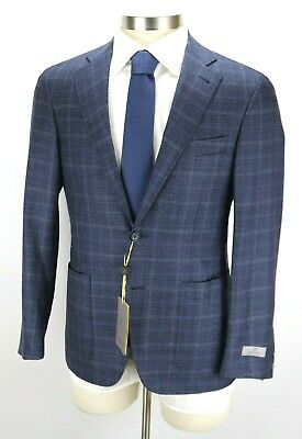 £303.83 • Buy NWT $1595 CANALI 1934 Wool Kei Jacket Coat 38 S (48 EU) Navy Woven Windowpane