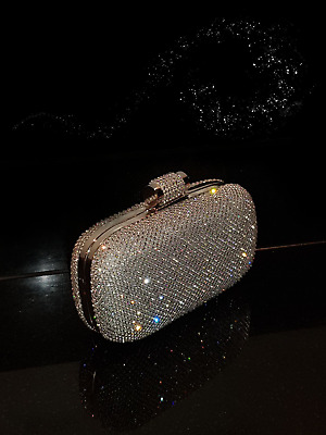 £21.99 • Buy Bling Diamond Crystal Diamante Evening Bag Clutch Purse Bride Wedding Party Prom