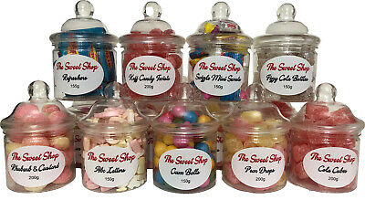 Sweet Shop Retro Gift Jars - Cola Cubes - Koff Candy - Pear Drops - Abc Letters  • 5.49£