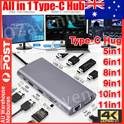 AU26.89 • Buy USB-C HUB Type-C USB 5/6/8/10/11 IN 1 3.0 4K HDMI RJ45 Ethernet Micro SD TF OTG