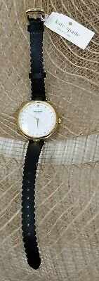$ CDN106.52 • Buy Kate Spade Holland White Dial Scallop Black Leather Ladies Watch Kcw1356 New